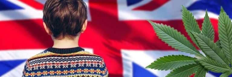 flaga uk, dziecko, liść konopii